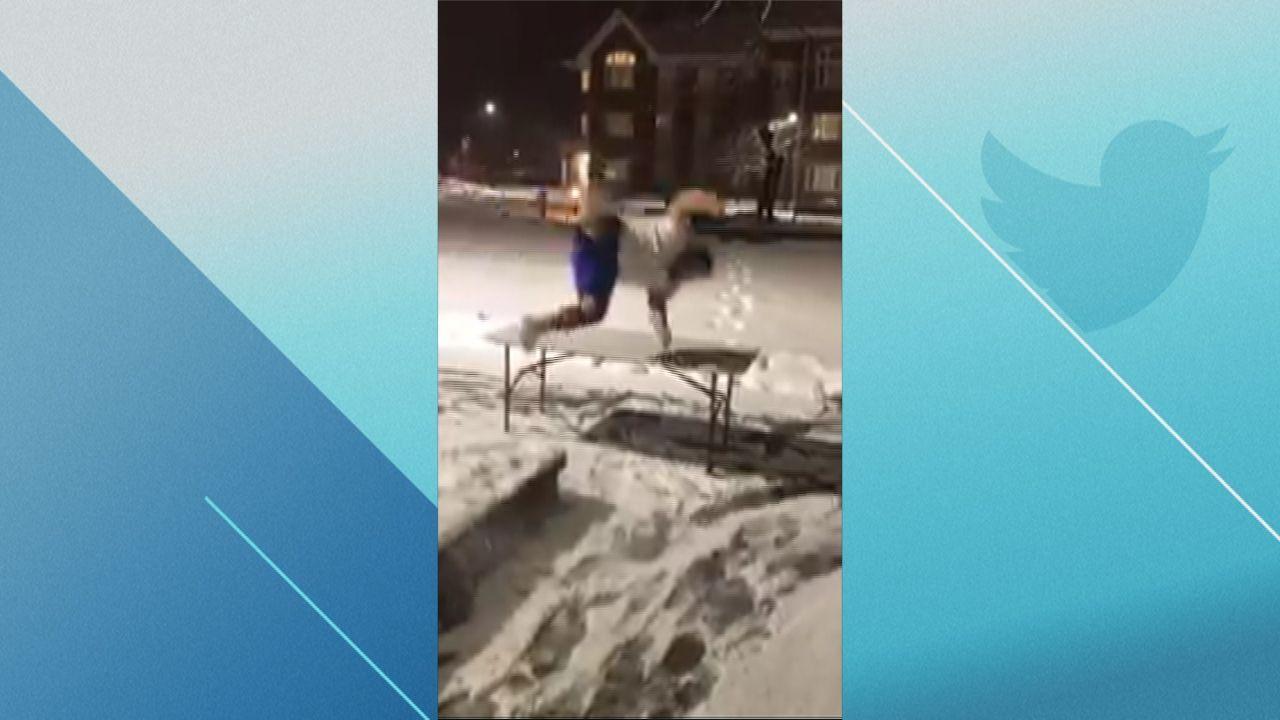 buffalo fan celebrates by slamming into table in the snow