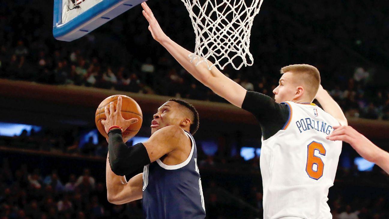 Could Kristaps Porzingis help Knicks land Russell Westbrook next summer? - New York Knicks Blog ...