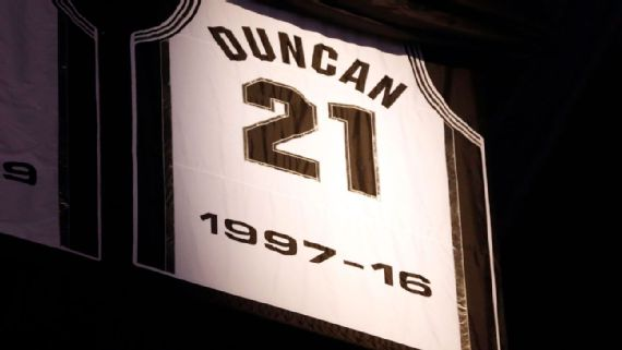more photos 81db4 50e03 Tim Duncan Moved The Spurs Up The Retired-Jersey Rankings ...