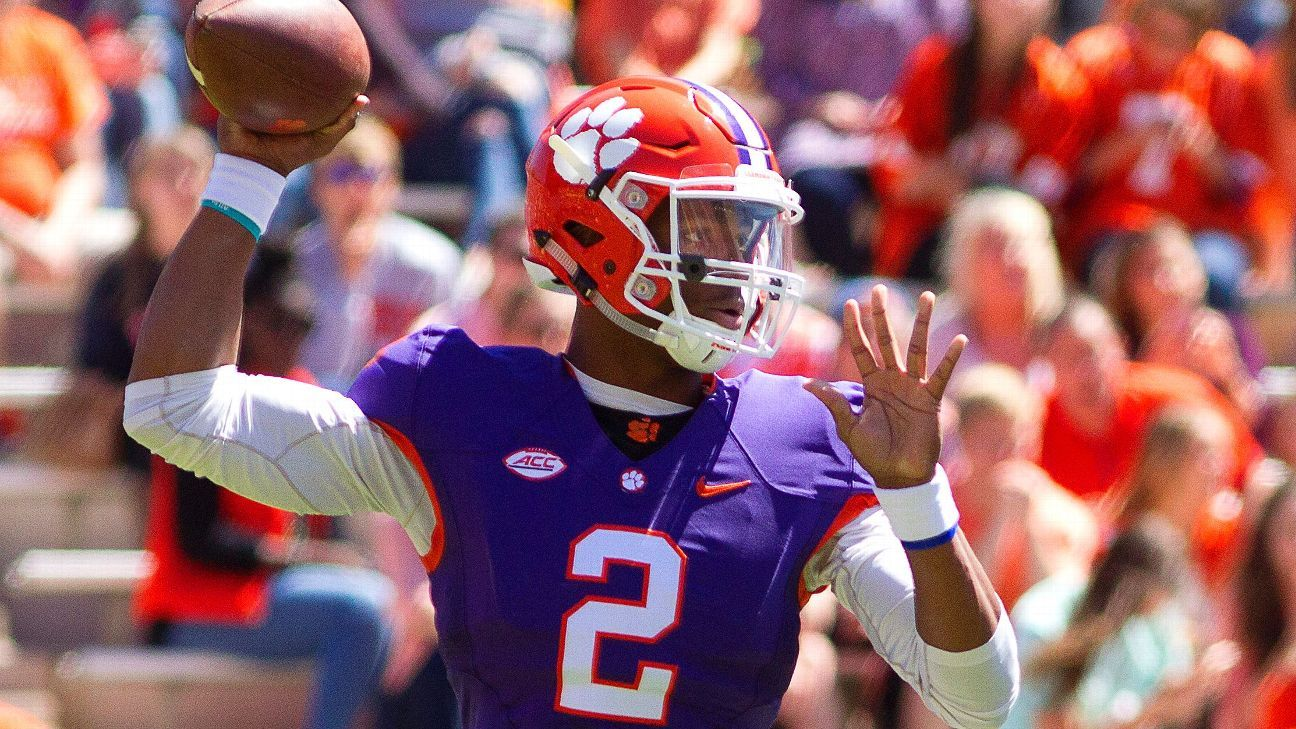 College Football Bowl Games 2017 2018 >> Clemson Tigers' Kelly Bryant still No. 1 QB despite shaky spring game