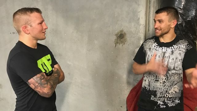 TJ Dillashaw, Vasyl Lomachenko share boxing ring, talk Floyd Mayweather-Conor McGregor