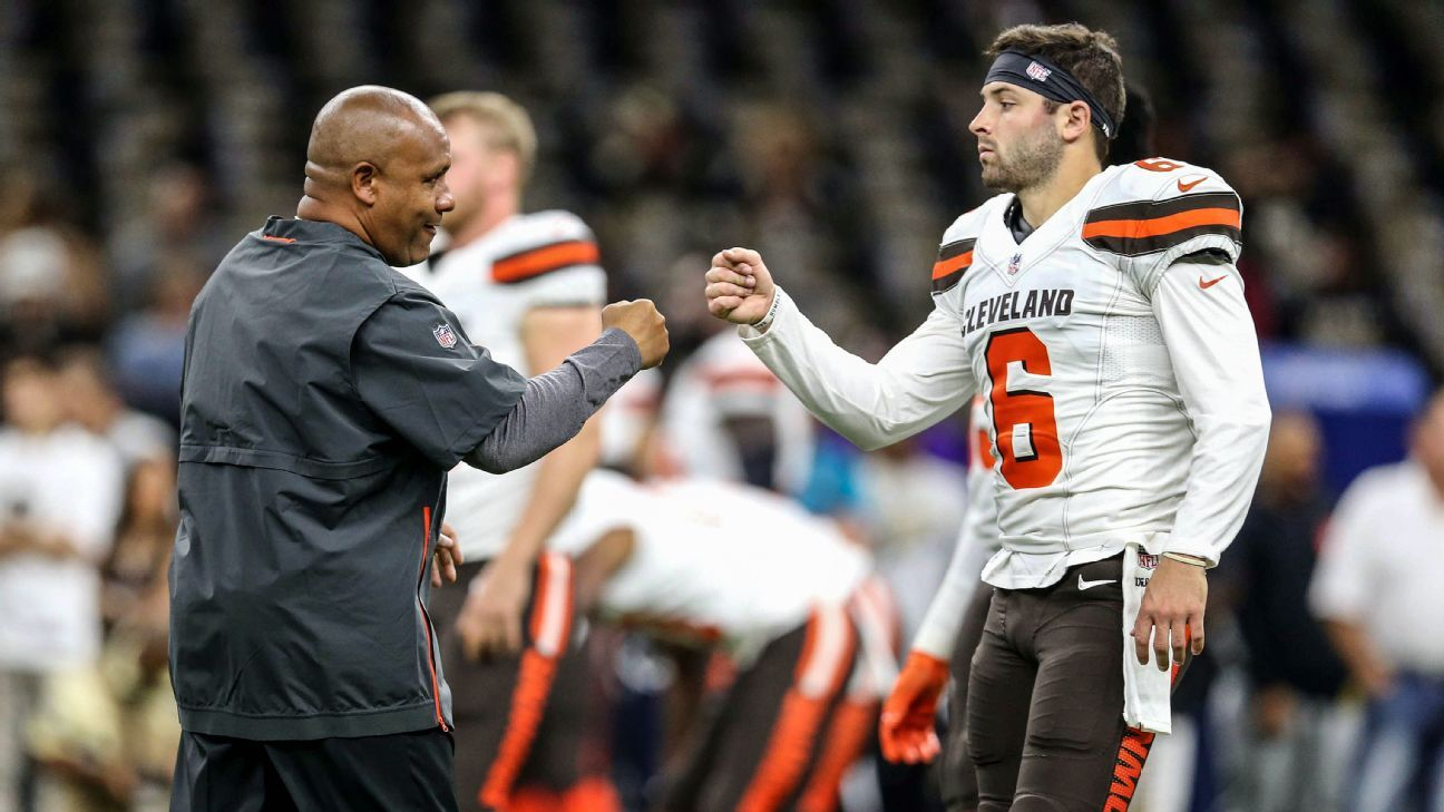 Browns quarterback Baker Mayfield said Wednesday that he has no regrets over calling former coach Hue Jackson