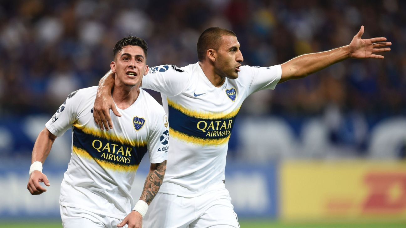... (1-3 agg)  Visitors reach SFs · goal.com - Sacha Pisani · Boca Juniors  move on to Copa Lib semis as Cruzeiro s Dede sees red again 86f5dbd196070