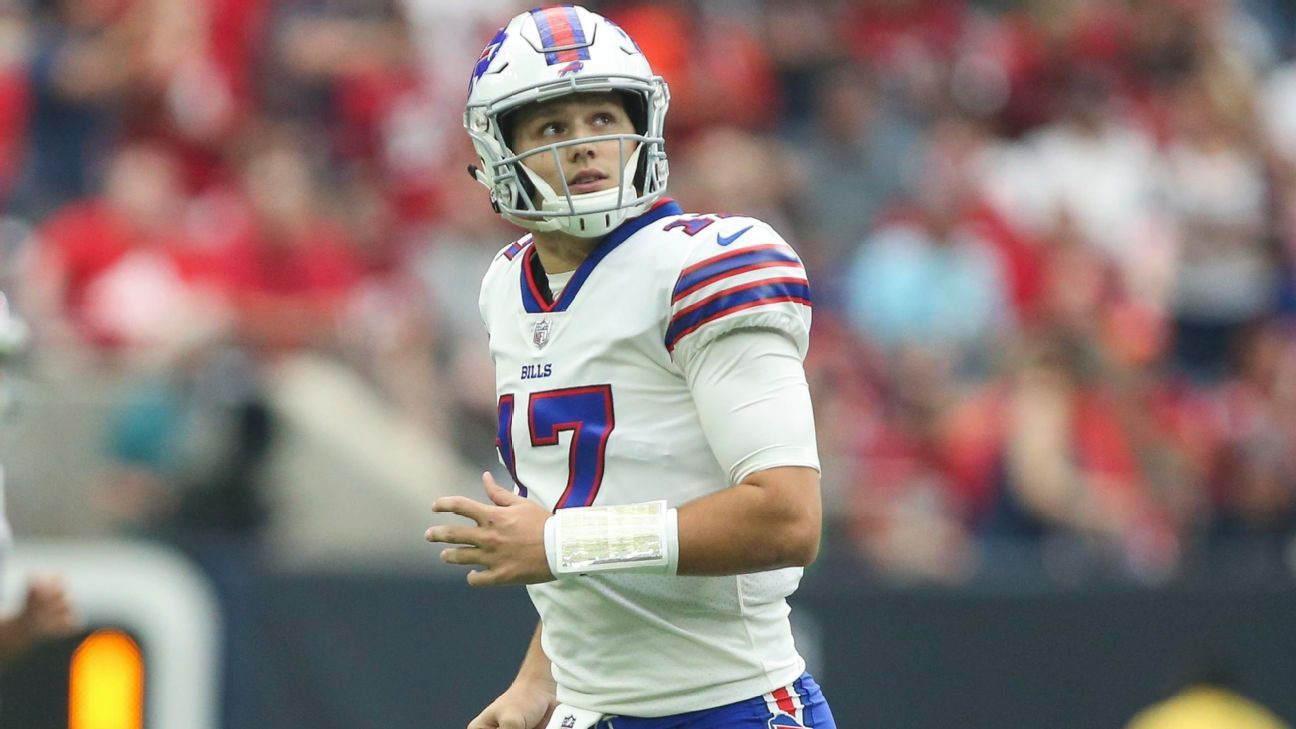 Bills rookie quarterback Josh Allen, who has been ruled out of Sunday's game against the Jets because of an elbow injury, is expected to be ready to return after Buffalo's bye Nov. 25 against the Jaguars, a source tells ESPN.