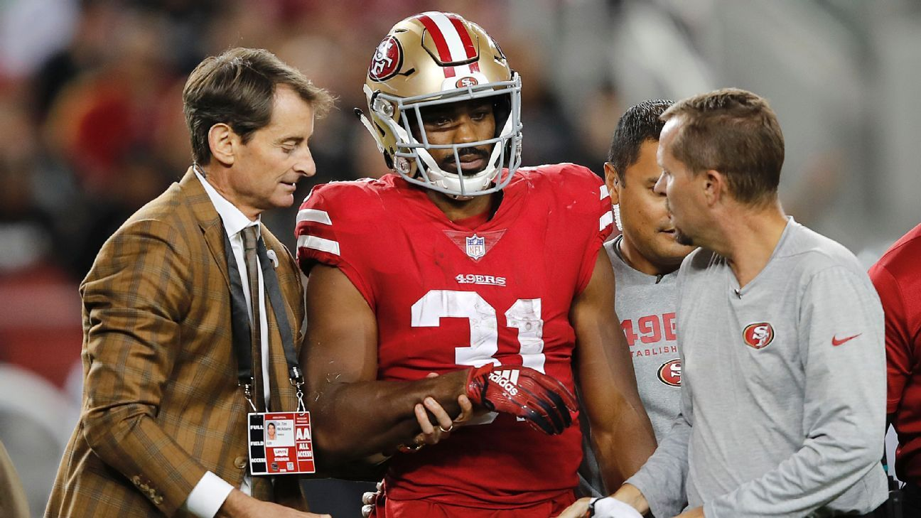 Niners running back Raheem Mostert suffered a broken right forearm in Thursday's win over the Raiders, and coach Kyle Shanahan said he expects to be without him for the rest of the year.