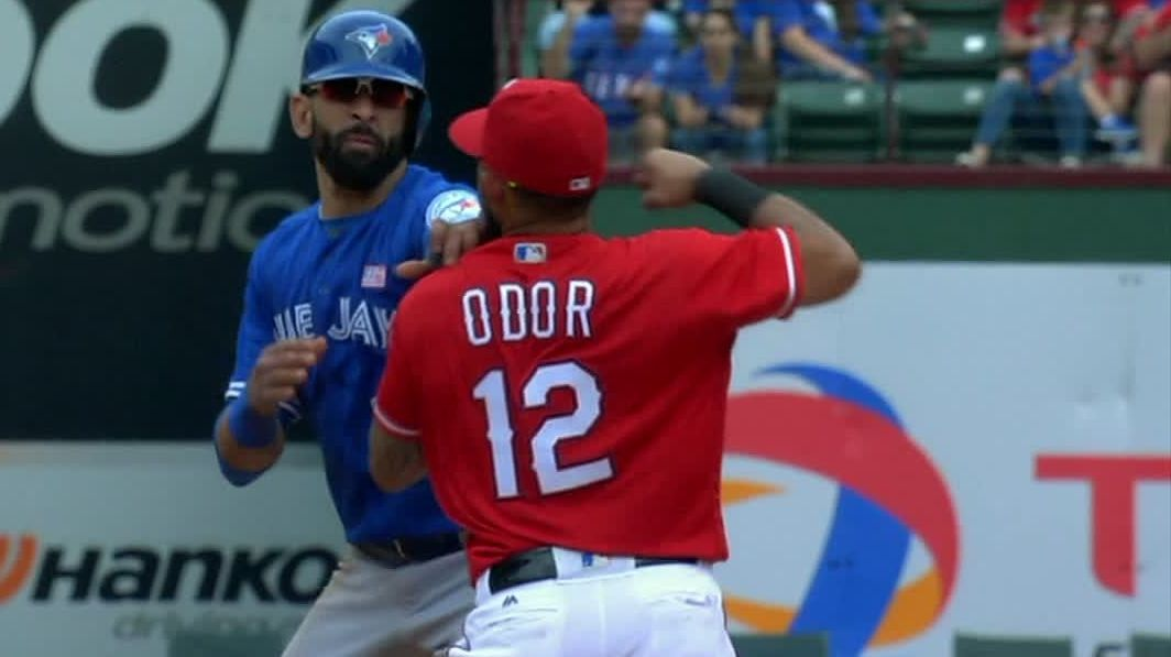 rougned odor of texas rangers suspended 8 games for punching toronto blue jays' jose bautista