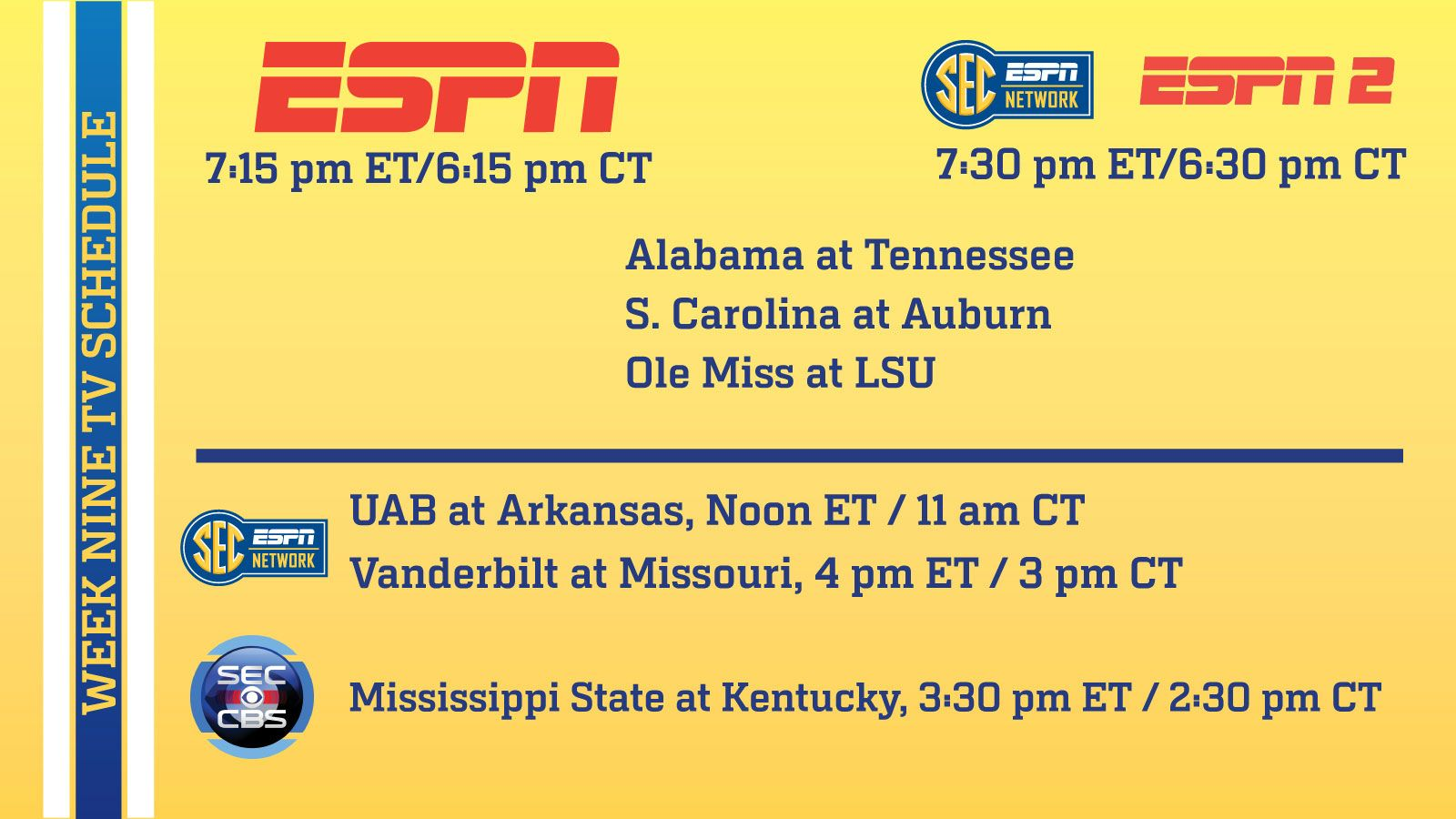 Saturday's SEC football TV and satellite radio schedule