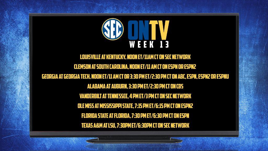 Week 13 TV schedule