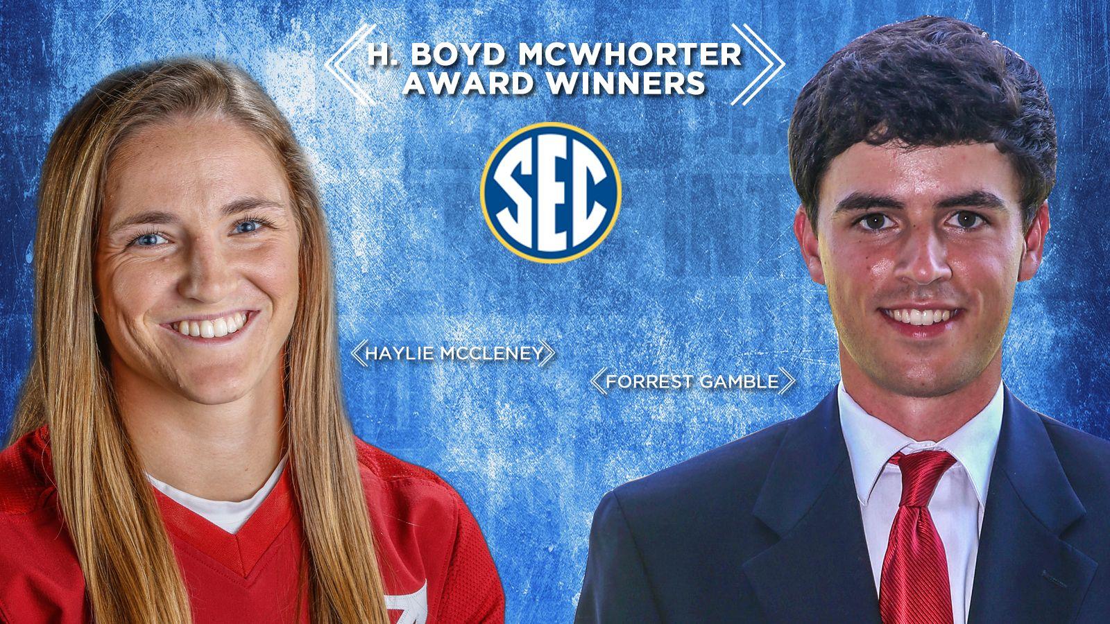 Gamble, McCleney win McWhorter Award