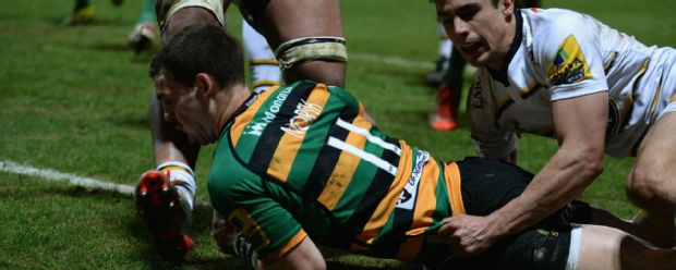George North was knocked out as he touched down for Northampton' second try