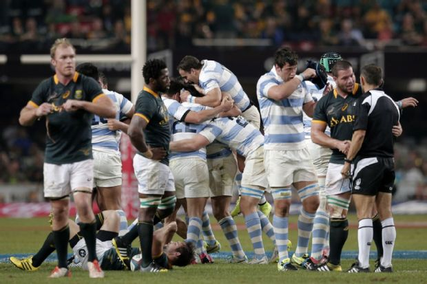 Argentina celebrate victory over the Springboks at the final whistle