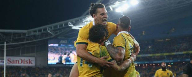 Adam Ashley-Cooper celebrates his try