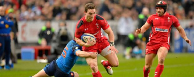 George North and Leigh Halfpenny in action for Wales against France in the 2015 Six Nations Championship