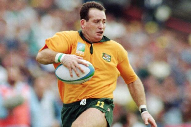 David Campese of Australia runs with the ball