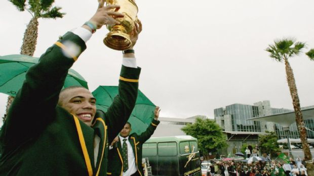 Bryan Habana of South Africa holds the Webb Ellis trophy