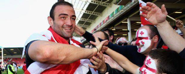Mamuka Gorgodze celebrates Georgia's victory over Tonga