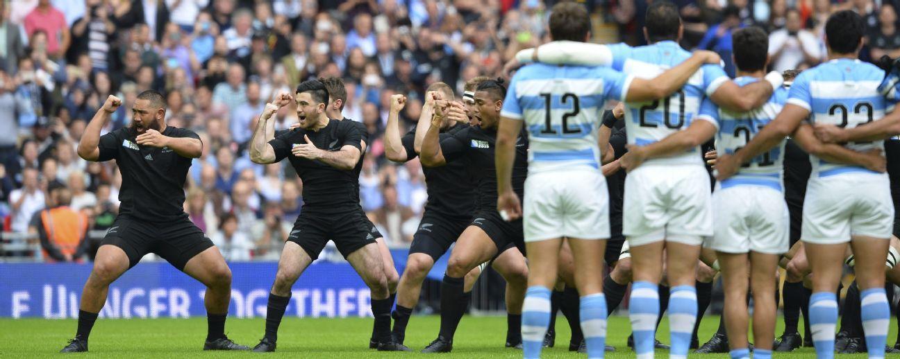 Argentina look on as New Zealand perform the haka at Wembley