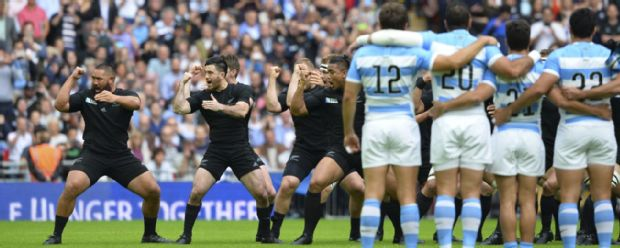 Argentina look on as New Zealand perform the haka at Wembley