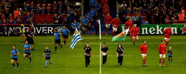 Wales and Uruguay emerge from the Millennium Stadium tunnel