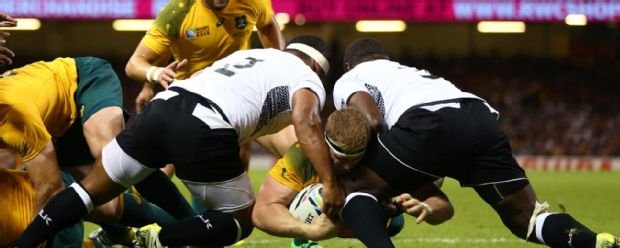 David Pocock scores the opening try for Australia against Fiji