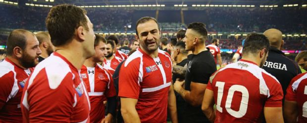 Mamuka Gorgodze looks on after Georgia's World Cup clash against the All Blacks