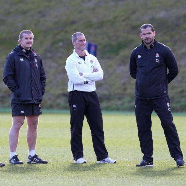 Mike Catt, skills coach, Graham Rowntree, forwards coach, Stuart Lancaster, head coach and backs coach Andy Farrell