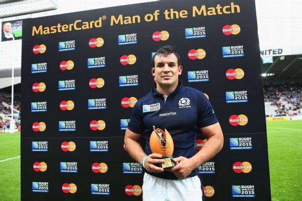 Scotland's John Hardie receives his Man of the Match award