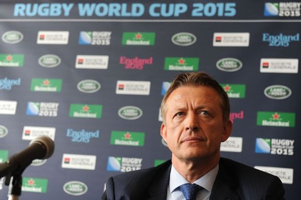 Octavian Morariu speaks to the media during the Rugby World Cup 2015 press conference