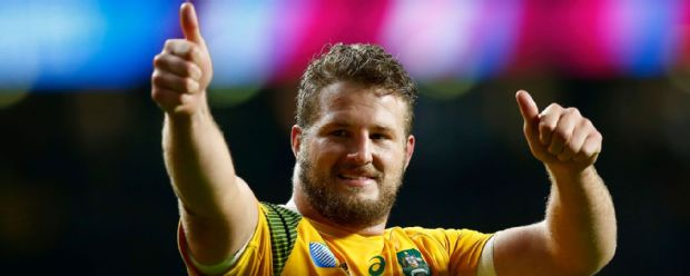 James Slipper salutes the crowd after Australia's victory over Wales
