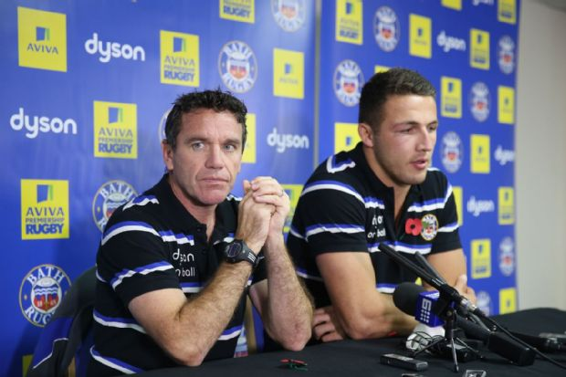 Mike Ford and Sam Burgess at a Bath press conference