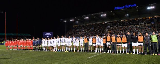 Saracens and Toulouse players observe a minute's silence