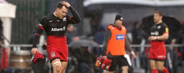 Schalk Brits of Saracens is sent off after punching Nick Wood during the Aviva Premiership match between Saracens and Gloucester at Allianz Park