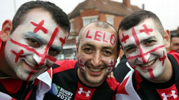 Georgia supporters arrive for the Group C Rugby World Cup match between Tonga and Georgia