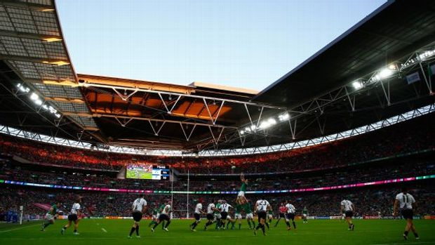 A general view of the action during the 2015 Rugby World Cup Pool D match between Ireland and Romania at Wembley Stadium