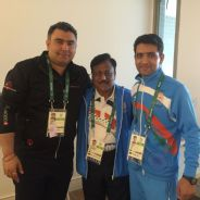 Gagan Narang and Chain Singh at the Olympic Village.