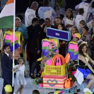 Abhinav Bindra carries the country's flag at Rio 2016.