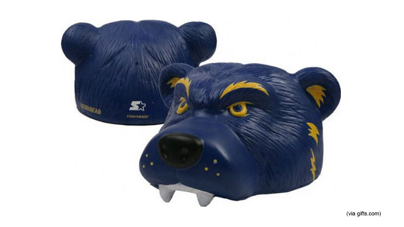 Is Dad still debating plugs versus hairpiece? Solve that problem for him with a large, blue, mascot head!