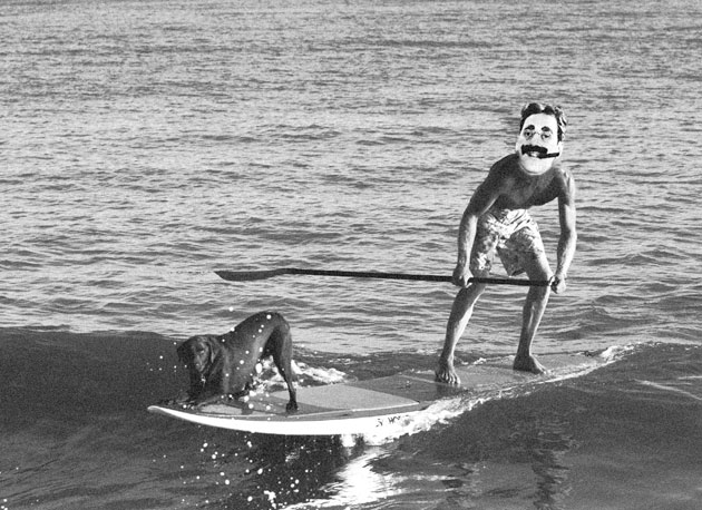 Being from the East Coast originally, even after Charlie Chaplin took him out at Pipe, Groucho Marx prefered the slow rollers of San Onofre, where he could hang a little paw with his pooch.