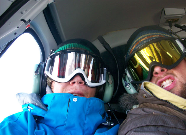 Tim Dutton, left, and friend Al Bodinhammer on the heli in Alyeska.
