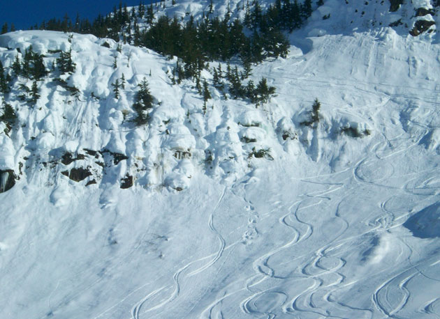 Dutton likes pillow lines, like this one in Haines, AK (note, second from left, the tell-tale tracks of the cartwheel creature).
