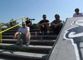 SPoT's Ryan Clements (upper right corner) posted up at the Street course with his buds.