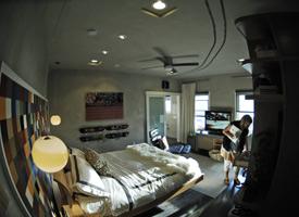 The Etnies Hotel Room in fisheye vision.