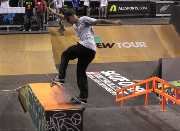 Ramondetta front blunts during his run at last year's Dew Tour stop in Boston.