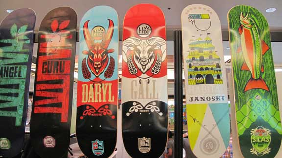 A few of the next line of Habitat skateboards.