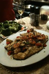 Mediterannean-style striped bass for dinner at the Townsend household.