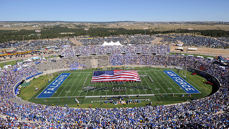 Falcon Stadium Overview With Flag