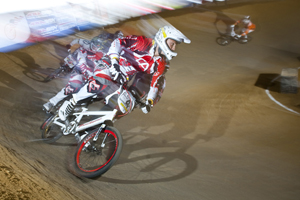 Strombergs leads the pack through a berm.