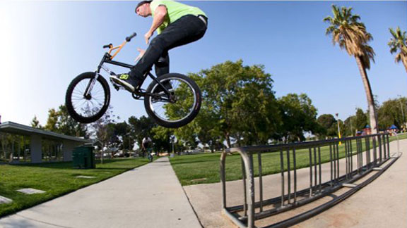 Rail to barspin out on tight bike rack setup.