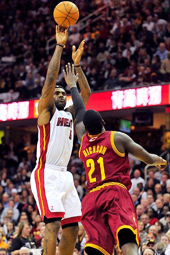 LeBron James shoots