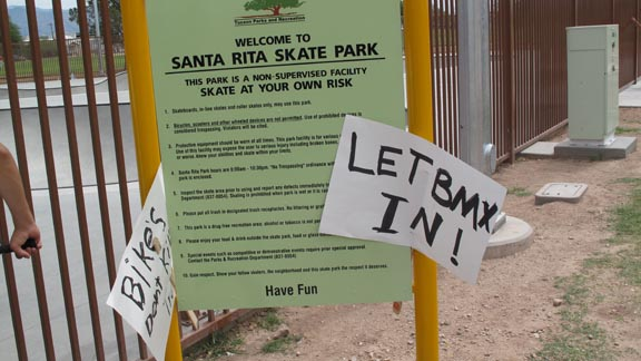 Tuscon, Ariz. area BMX protest at a skatepark that doesn't allow BMX bikes.